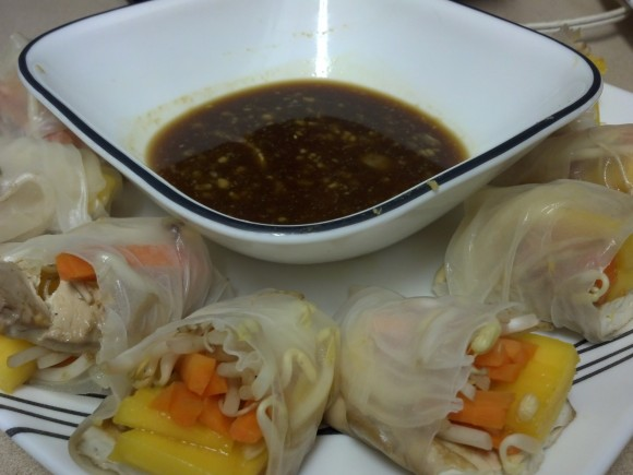 Tofu Spring Rolls with Mango and Bean Sprouts