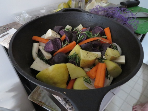 Root vegetables with rosemary, salt, pepper and lemon juice.