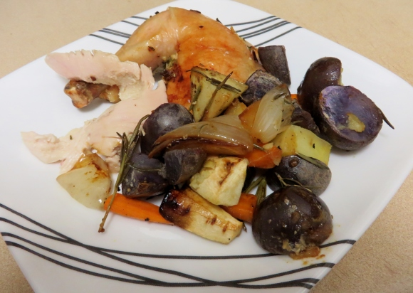 Carved chicken with roasted vegetables.