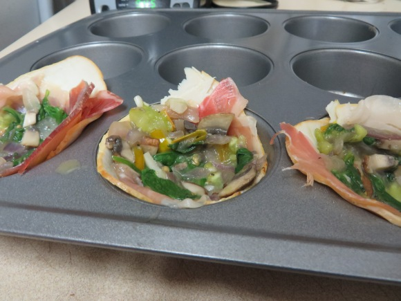 Turkey and Prosciutto cups filled with the spinach, onion, garlic and mushroom mixture.