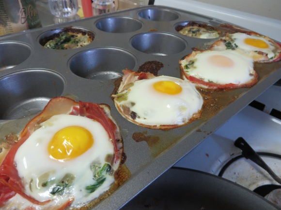 Turkey, prosciutto and egg breakfast cups after baking.