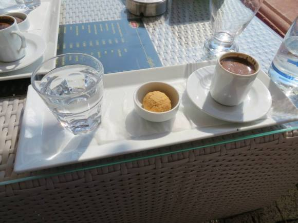 Turkish coffee.  A little too strong for my taste, but had to give it a try.