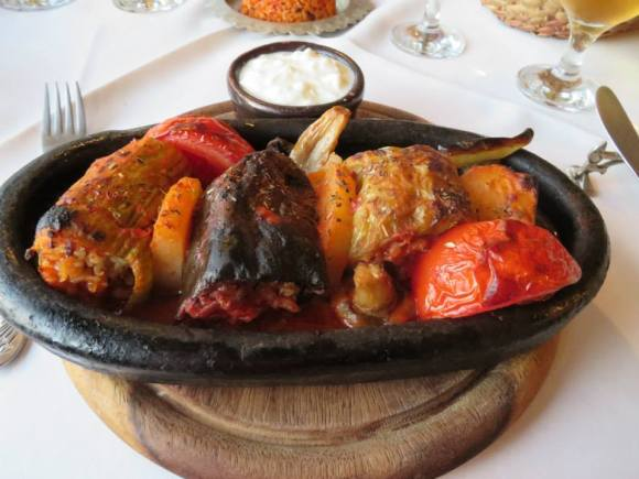 A dolma platter.   I learned dolma is not just stuffed grape leaves, but really stuffed anything.  This one is stuffed eggplant, pepper, tomato and grape leaves.