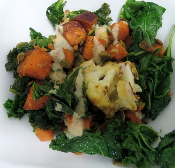 Sweet Potato, Cauliflower, Kale Salad
